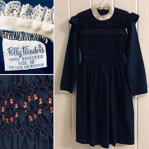 VINTAGE Polly Flinders Smocked Long Sleeve Dress